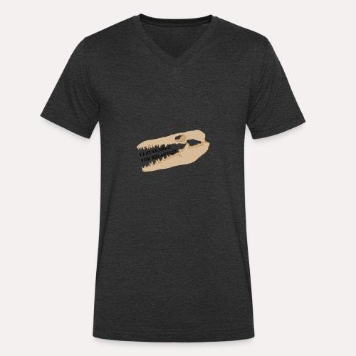 I eat sharks for breakfast mosasaur skull design - Men's Organic V-Neck T-Shirt by Stanley & Stella
