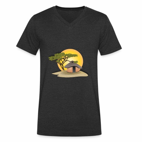 african hut vector art - Men's Organic V-Neck T-Shirt by Stanley & Stella