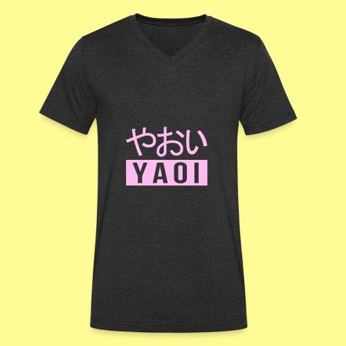 Pink Yaoi やおい - T-shirt ecologica da uomo con scollo a V di Stanley & Stella