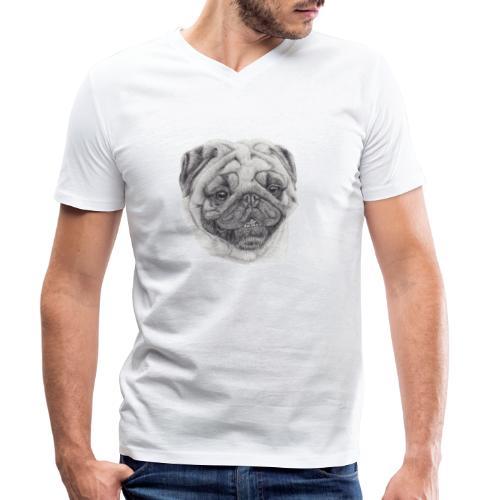 Pug mops 2 - Økologisk Stanley & Stella T-shirt med V-udskæring til herrer