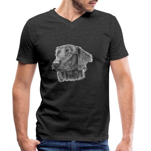 flatcoated retriever bw - Økologisk Stanley & Stella T-shirt med V-udskæring til herrer