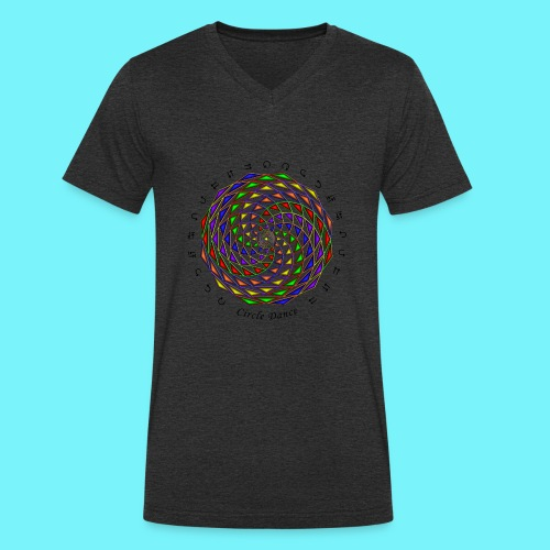 Mandala with Circle Dance words and glyphs - Men's Organic V-Neck T-Shirt by Stanley & Stella