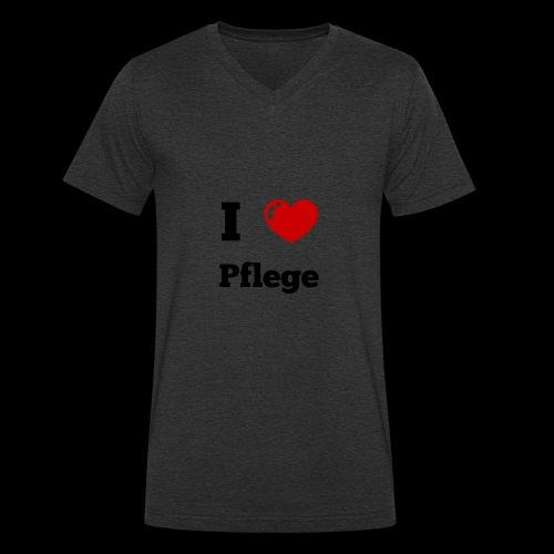 I LOVE PFLEGE - Männer Bio-T-Shirt mit V-Ausschnitt von Stanley & Stella
