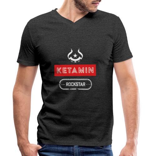 KETAMIN Rock Star - White/Red - Modern - Men's Organic V-Neck T-Shirt by Stanley & Stella