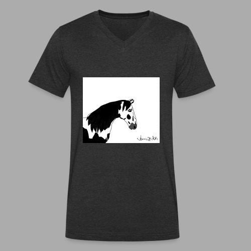 Pferdekopf mit Unterschrift - Männer Bio-T-Shirt mit V-Ausschnitt von Stanley & Stella