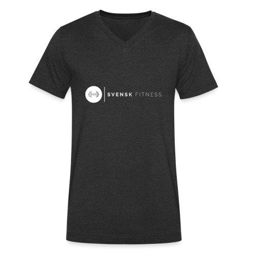Vit vertikal logo dam - Ekologisk T-shirt med V-ringning herr från Stanley & Stella