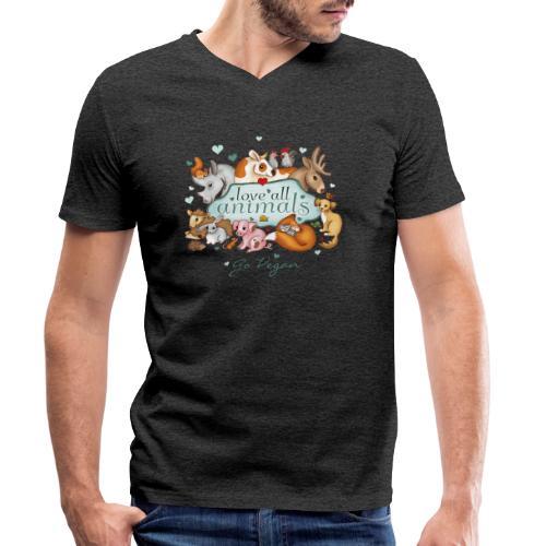 love all animals - go vegan - Men's Organic V-Neck T-Shirt by Stanley & Stella