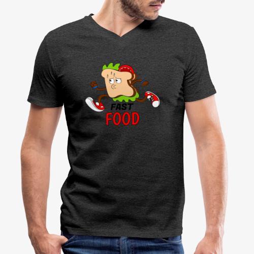FAST FOOD - Camiseta ecológica hombre con cuello de pico de Stanley & Stella