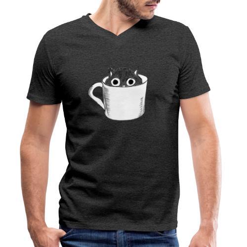 Katze in Tasse - Männer Bio-T-Shirt mit V-Ausschnitt von Stanley & Stella