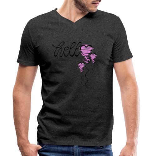 Hello Herzballon - Männer Bio-T-Shirt mit V-Ausschnitt von Stanley & Stella