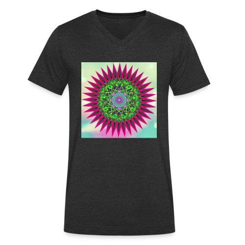 Mandala Flower - Økologisk T-skjorte med V-hals for menn fra Stanley & Stella