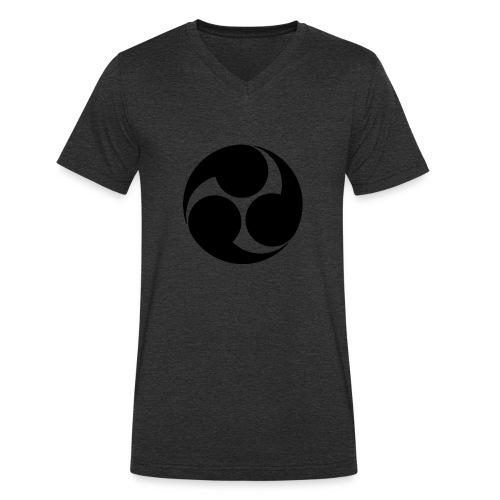 Kobayakawa Mon Japanese clan black - Men's Organic V-Neck T-Shirt by Stanley & Stella