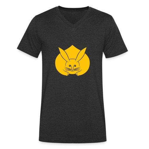 Usagi kamon japanese rabbit yellow - Men's Organic V-Neck T-Shirt by Stanley & Stella