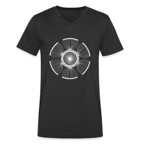 White Poppy Seed Mandala II - Men's Organic V-Neck T-Shirt by Stanley & Stella
