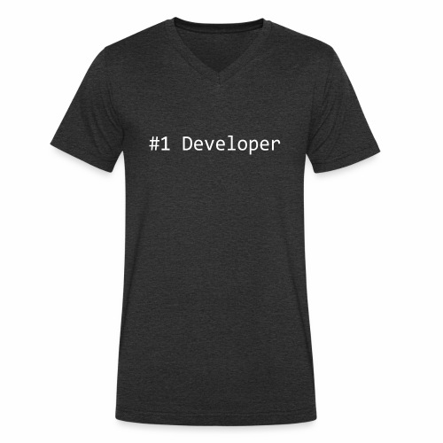 #1 Developer - White - Men's Organic V-Neck T-Shirt by Stanley & Stella