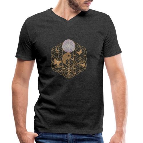Das Leben umgeben von Energie. Blume des Lebens. - Männer Bio-T-Shirt mit V-Ausschnitt von Stanley & Stella
