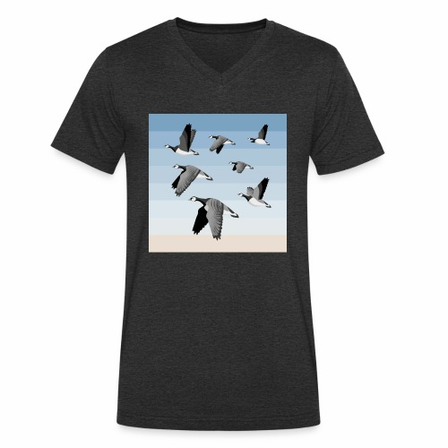 Barnacle goose flock - Men's Organic V-Neck T-Shirt by Stanley & Stella