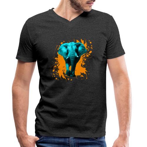 Elefant in Türkis - Männer Bio-T-Shirt mit V-Ausschnitt von Stanley & Stella