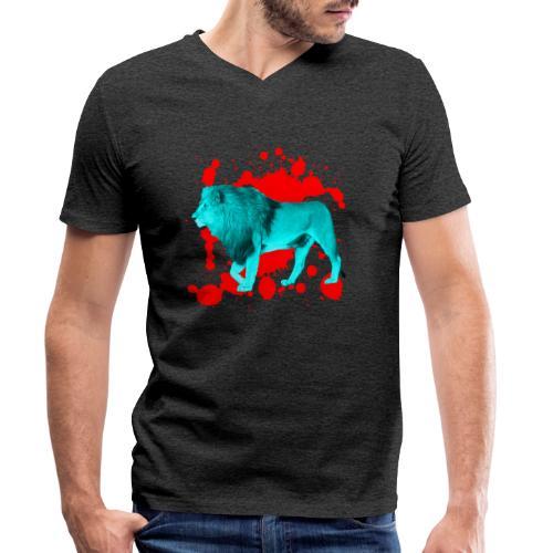 Löwe in Türkis - Männer Bio-T-Shirt mit V-Ausschnitt von Stanley & Stella