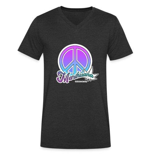 Peace and leafes - Männer Bio-T-Shirt mit V-Ausschnitt von Stanley & Stella