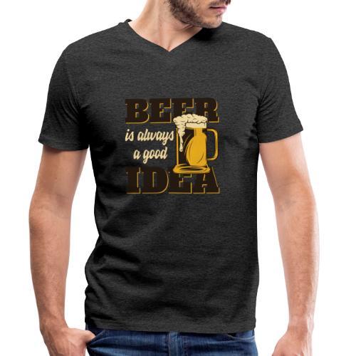 Beer is always a good Idea - Männer Bio-T-Shirt mit V-Ausschnitt von Stanley & Stella