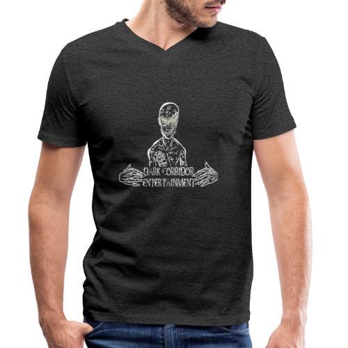 Dark Corridor Logo in Standardgröße mit Schriftzug - Männer Bio-T-Shirt mit V-Ausschnitt von Stanley & Stella