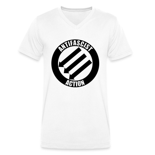 Anti-fascist Action - Ekologiczna koszulka męska z dekoltem w serek Stanley & Stella
