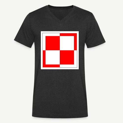 szachownica - Ekologiczna koszulka męska z dekoltem w serek Stanley & Stella