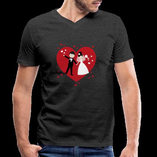 Hochzeitspaar mit vielen Herzen - Rot - Männer Bio-T-Shirt mit V-Ausschnitt von Stanley & Stella
