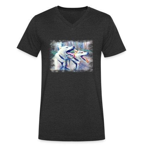 Glückliche Leithunde - Männer Bio-T-Shirt mit V-Ausschnitt von Stanley & Stella