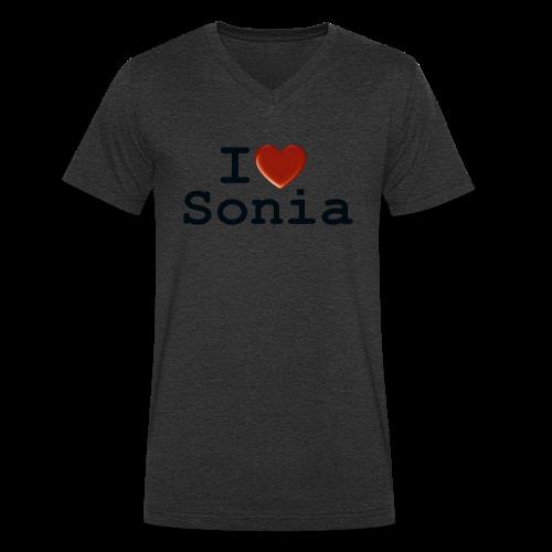 i love sonia - Ekologiczna koszulka męska z dekoltem w serek Stanley & Stella