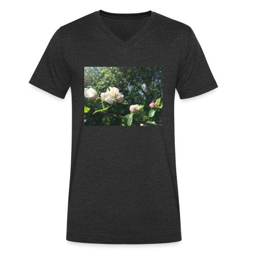 The Flower Shirt - Æbleblomster - Økologisk Stanley & Stella T-shirt med V-udskæring til herrer