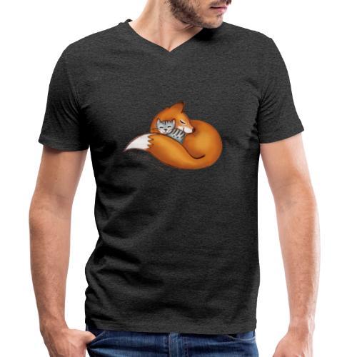 vosje met poes en tekst 'every life matters' - Men's Organic V-Neck T-Shirt by Stanley & Stella