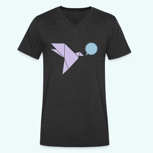 Schwalbe Sprechblase - Männer Bio-T-Shirt mit V-Ausschnitt von Stanley & Stella
