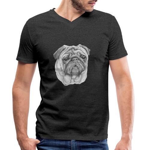 Pug - mops 1 - Økologisk Stanley & Stella T-shirt med V-udskæring til herrer