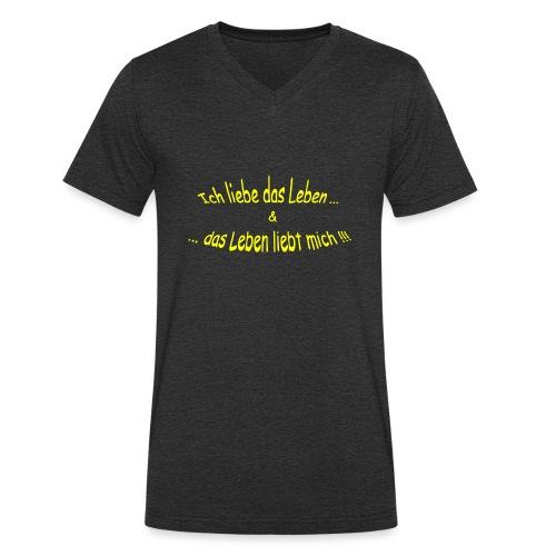 Ich-liebe-das-Leben-gelb - Männer Bio-T-Shirt mit V-Ausschnitt von Stanley & Stella