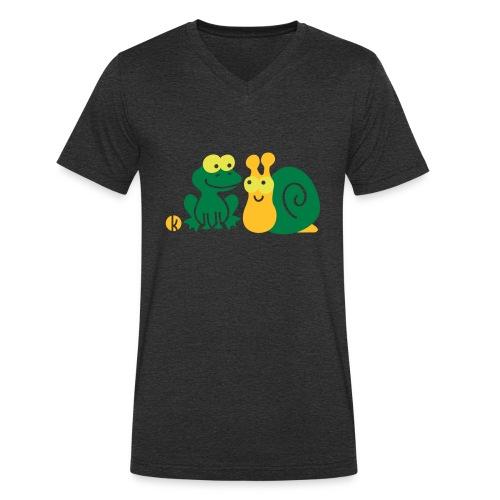 Frosch und Schnecke (c2) Freundschaft - Männer Bio-T-Shirt mit V-Ausschnitt von Stanley & Stella
