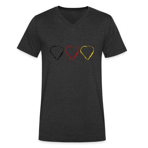 3 Herzen Deutschland #1 - Männer Bio-T-Shirt mit V-Ausschnitt von Stanley & Stella