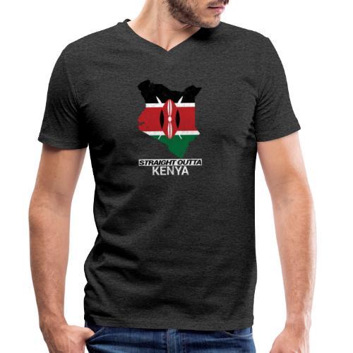 Straight Outta Kenya country map & flag - Men's Organic V-Neck T-Shirt by Stanley & Stella
