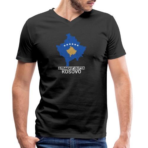 Straight Outta Kosovo country map - Men's Organic V-Neck T-Shirt by Stanley & Stella