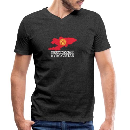 Straight Outta Kyrgyzstan country map - Men's Organic V-Neck T-Shirt by Stanley & Stella