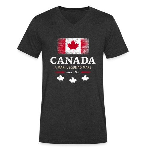Canada Kanada Amerika maple leaf Flagge Fahne - Men's Organic V-Neck T-Shirt by Stanley & Stella