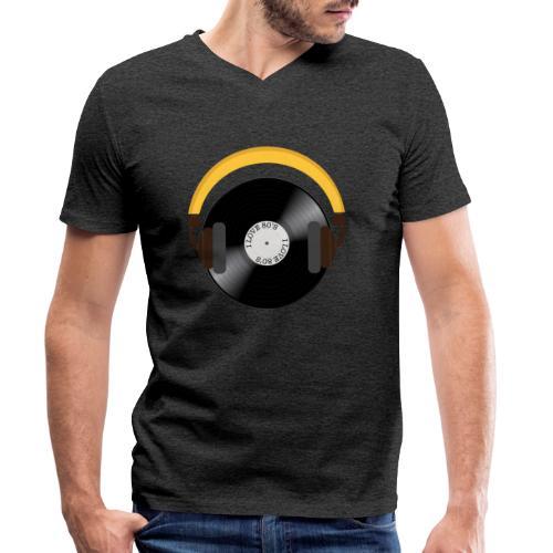 Retro Vinyl Record with headphone!. - Økologisk Stanley & Stella T-shirt med V-udskæring til herrer