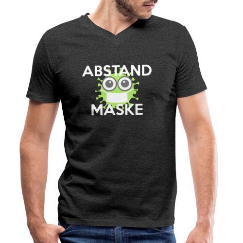 Mit Abstand und Maske gegen CORONA Virus- weiss - Männer Bio-T-Shirt mit V-Ausschnitt von Stanley & Stella