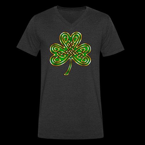 Celtic Knotwork Shamrock - Men's Organic V-Neck T-Shirt by Stanley & Stella