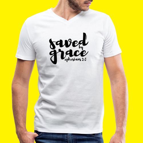 SAVED BY GRACE - Ephesians 2: 8 - Men's Organic V-Neck T-Shirt by Stanley & Stella