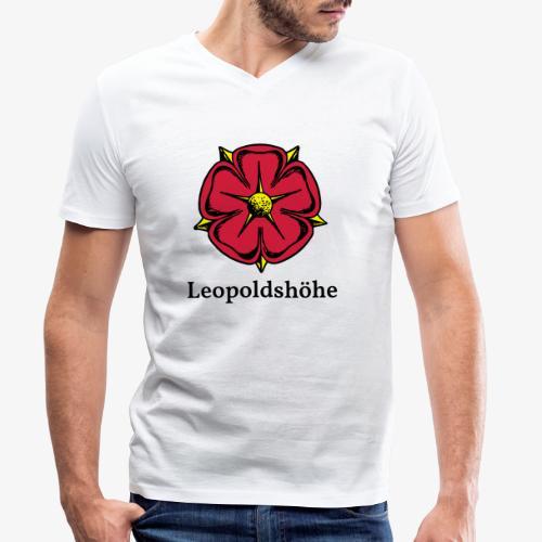 Lippische Rose mit Unterschrift Leopoldshöhe - Männer Bio-T-Shirt mit V-Ausschnitt von Stanley & Stella