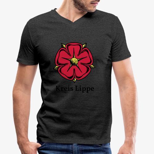 Lippische Rose mit Unterschrift Kreis Lippe - Männer Bio-T-Shirt mit V-Ausschnitt von Stanley & Stella