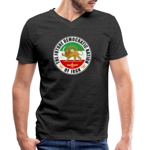 Iran Emblem Old Flag With Lion - Men's Organic V-Neck T-Shirt by Stanley & Stella