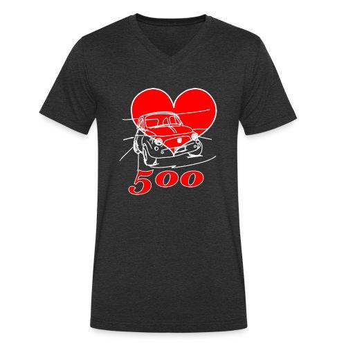 Mitica 500 Cuore - Amo la Mitica 500 - T-shirt ecologica da uomo con scollo a V di Stanley & Stella